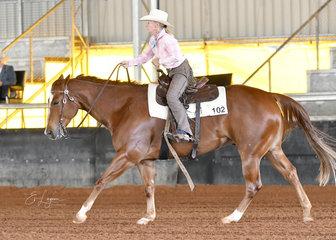 Gail Lowden winning the Select Amateur Ranch Riding on Triandibo Inhecagie.JPG