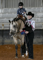 TJ Fleming riding Tally S Imyourhero with Lisa Fleming.