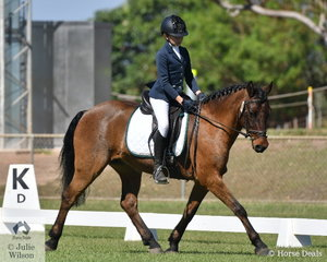 Bridie McKenna and Glenormiston Donovon placed second in the Pony 1B.