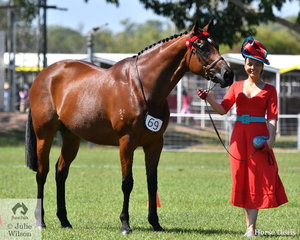 Jaimee Bruggerman from South Australia looking splendid took out the Fashions on the Field with the help of Sophie Cleveland's Bless.