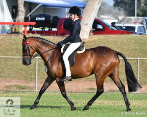 Rhianna Williamson rode Taliga Lollipop in the class for.SHC   Rider under 17.