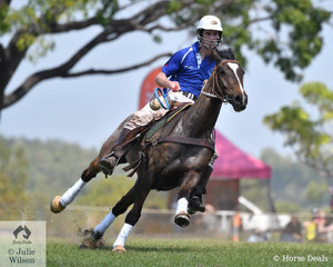 Jake Burgdorf had a great game on Gatsby for the Howard Springs Polocrosse team.