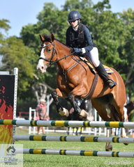 Angela Stringer had one time fault riding Belle Eve in the 80cm 2 round Championship.