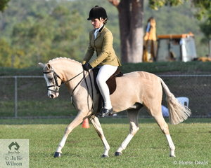 Jamiee Bruggerman, up from Adelaide for a bit of winter sunshine rode Tess Patten's Brampton Toyboy to be declared Reserve Champion Show Hunter Pony.