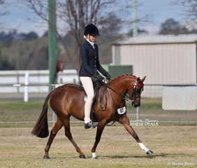 "Alyssa Walsh riding ""Drumeden Chanel"", they won the Small Saddle Pony Championship."