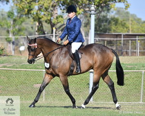Local successful rider and trainer, Nicole Mutimer rode her well performed Thoroughbred Mon Amour to be declared Champion Hack and Supreme Show Horse.