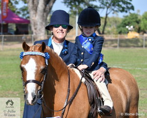 Tobi Smith with the help of mum, Mandy and her delightful pony Richdale Paris won the class for Rider under 6 and was declared Reserve Champion Sub -Junior Rider.