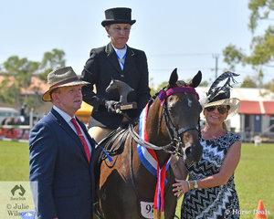 Carmen Nowak rode her Riding pony, Rivendell Illision to be declared Champion Galloway. Carmen is seen  here with judges Raymond Butler and Carlene Nossiter