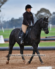 """Holly Stone riding """"Rivalees Royal Guardian"""" representing Echuca ARC in the Level 3"""
