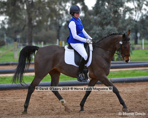 """Jo Collier rode """"Mellizo Park Royal Legacy"""" representing Buloke ARC winning overall in the Level 1 on Saturday"""