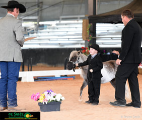 Using his charm and the crowd on the judge Nathan Ritter went on to win the 5 Years and under Tiny Tot Showmanship class