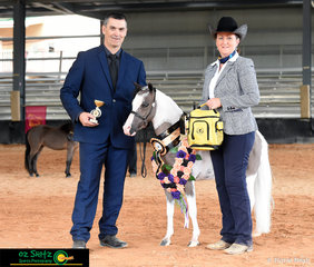 Happy with the garland, Country Rose Attitude's Burning Love was presented the 2019 AMHS QLD Sate Supreme Small Horse on Thursday afternoon.