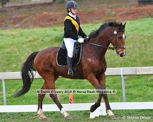 "Mackenzie Downing riding ""Wildoak Rockafella"" in the Pony Club Grade 1 Dressage representing Maldon Pony Club"