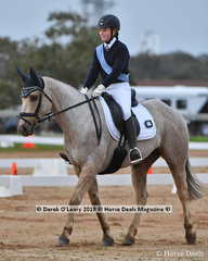 """Jorja Kirsopp-Cole in the Pony Club Grade 2 riding """"Champagne Lola"""" representing Mount Duneed Pony Club"""