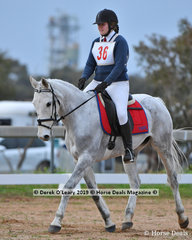 "Madeline Ballinger in the Pony Club Grade 3 Dressage riding ""Blue River Levi"" representing  Yarrambat Pony Club."