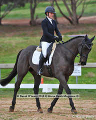 "Sophie Fox in the Open Grade 1 Dressage riding ""Sparrow"""