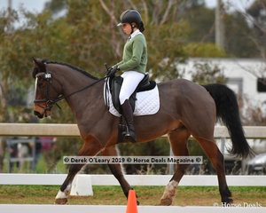"Matilda Bourk in the Pony Club Grade 3 Dressage riding ""The Riddler"" representing Barwon Valley Pony Club"