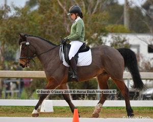"Matilda Bourk in the Pony Club Grade 3 Dressage riding ""The Riddler"" representing Barwon Valley Pony Club"