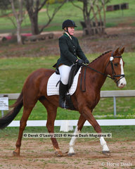 "Stacey Tucker riding ""Tullows Touch o Frost"" in the Open Grade 1 Dressage"