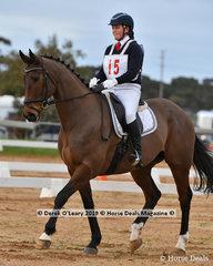 "Emma Sampson in the Pony Club Grade 2 dressage riding ""Alfresco NZ"" representing Lilydale & Mooroolbark Pony Club"