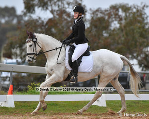 "Samara McLeod in the Open Grade 3 Dressage riding ""Our Miss Molly"""