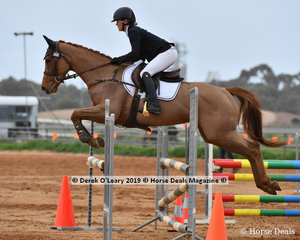 "Sophie Fox in the Open Grade 2 Show Jumping riding ""Valencia"""