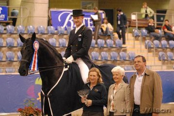 Brett Parberry rode Dr Kerry Mack's imported Weltmeyer stallion, 'Whisper 1V' to win the Gow Gates International Prix St Georges with 69.05%.Seen here with L-R Kerry Mack, judge Cara Witham from Canada and Bert Clarke representing Gow Gates.