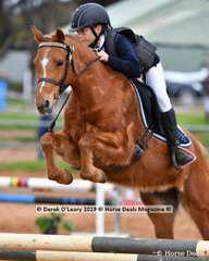 """Chloe Winter in the Pony Club Grade 4 riding """"Tempo"""" representing Mount Duneed Pony Club"""