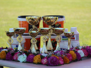 The beautiful trophies garlands and products from Rosehip Vital and TufRock that were on offer for the Champions