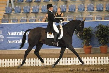 Nicole Magoffin rode her Aachimedes gelding, 'Jaybee Anzac' to take sixth place in the Gow Gates International Prix St George with 63.60%.