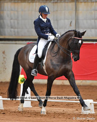 "Caroline Coleby rode ""Jaybee Albion"" in the FEI Prix St George placing 6th with a score of 57.280"