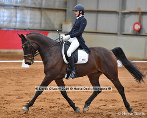 "Winner of the Advanced 5A Chantelle Mathews riding ""AB Fabulous"" with a total score of 65.856%"