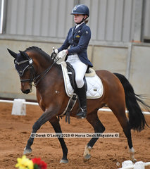 """Bella Plumbridge rode """"Illawong Harvest Moon"""" placing 4th in the Advanced Championship with 65 points"""