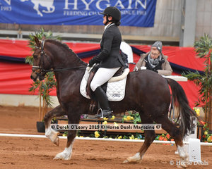 """Pam Kennedy rode """"Narrawah Park Prince Harry"""" placing 7th in the Elementary 3A with a total score of 60.695%"""