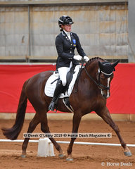 """Tamara Campain placed 3rd in the Elemenatry 3A riding """"Gowie Park Congac"""" with a total score of 64.584% and also finished 4th in the championship"""
