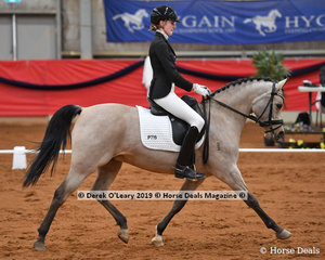 "Jessica Dertell rode ""Gleniph Tiramisu"" in the FEI Pony Class placing second with a score of 60.676%"