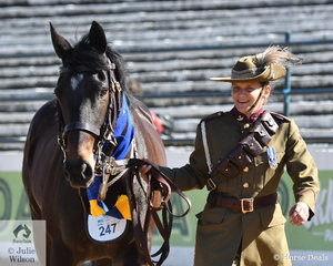 Natalie Hall splendidly decked out in a WW1 Troopers uniform led her equally well presented, 'Brook Lodge Wanderer' to claim the Best Led Waler Exhibit award.