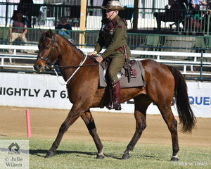 Roy Mientjes is pictured aboard Anne Marie Lawson's, 'Tally' that won the Trooper Turnout class and took second place in the Best Troop Horse class.