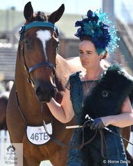 Kate Irwin is dressed to the nines as she presented her, 'Beneteau Buoy' (Beneteau/Heavenly Belle) to claim fifth place in the class for Thoroughbred gelding that has raced within the past 12 months.