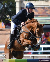 Finniss Beasy from Darwin is pictured aboard his, 'Captain Lightrning Bolt' making a very good effort during the first Junior and first jumping class of the 2019 Royal Queensland Show.