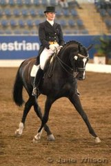 Lesley-Anne Taylor  from South Australia with her imported Welt Hit Stallion, 'Welfenadel', took 11th place in the Gow Gates International Prix St George with 61.90%.