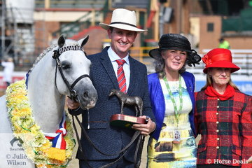 Plenty to smile about. Mark Lilley did the honours with the Riverglen Pony Stud's, 'Riverglen Zion' (Koora-Lyn Acclaim/R. Zephyryn) that was declared Champion Stallion and Supreme Exhibit in both the the Australian Pony and Australian Saddle Pony rings. Mark is pictured with judge, Marion MacLennan (Scot) and award presenter, Julie Hibbert.