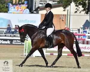 Kirsty Harper-Purcell rode the Harper-Purcell and Johnson nomination, 'Farleigh Anastasia' to win the class for Riding Pony under Saddle 13.2 hh and ne 14.2hh.