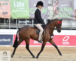 Kate Kyros rode her own and the Universal Stables nomination, 'Braeburn Heavenly Soprano' to win the class for Open Pony 12-12.2hh and claim the 2019 Royal Queensland Show Small Pony Championship.