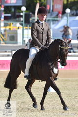 Riley Kent rode his own, 'Bamborough Ella' to take second place in the class for Open Pony 13-13.2hh.