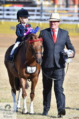Four year old Bridie Raymont is getting her riding career off to a good start. She is pictured with Paul Austin leaving the ring with all the prizes after winning the class for Rider 3 AU 5 Years.