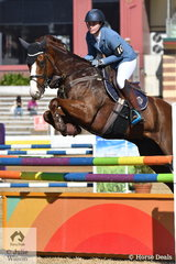 Shania Lyons from Kurwongbar in Queensland place in the Junior jump off class this morning riding her, Delago Bolt'.