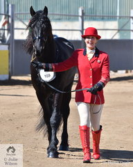 Linda Byrnes is pictured with her Best Purebred Friesian Exhibit, 'Ashton of Ellis Park' (Tsjalle 454/Genta Fon Ferwolde).