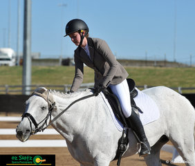 Westbury Park Irish Grove looked pretty happy at the end of his test with rider Charlotte Hopkins in the EVA 95 Junior held at AELEC on Saturday