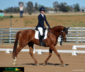 Part of a strong Queensland contingent that traveled down to Tamworth India Cochrane and Para Mi Amor scored a 67.63 in the dressage phase of the EVA 95 Junior class